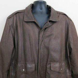 Vintage Leather Bomber Jacket Size 46